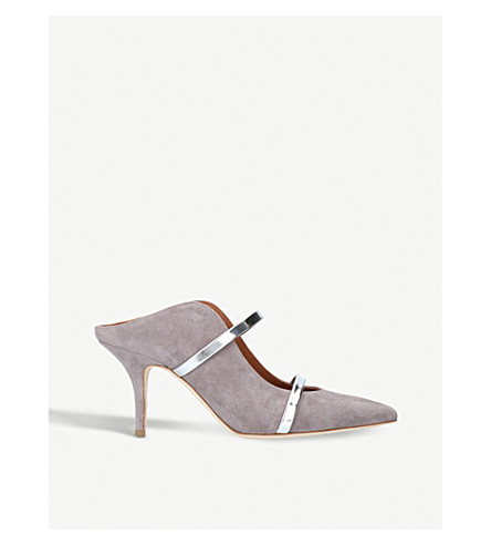 MALONE SOULIERS Maureen strappy suede mules (Grey/light