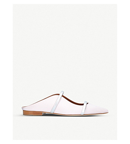 MALONE SOULIERS Maureen slip-on moire flats (Pale+pink