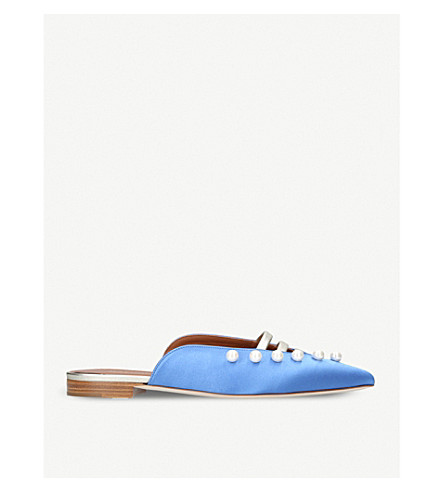 MALONE SOULIERS Zelda backless satin and leather mules (Blue