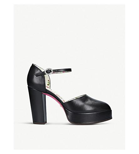 GUCCI Agon leather platform sandals (Black