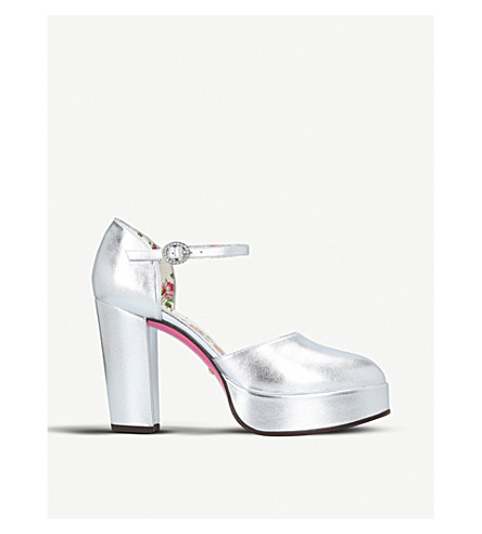 GUCCI Agon metallic-leather platform sandals (Silver