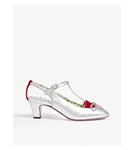 GUCCI Anita embellished leather heeled courts (Silver