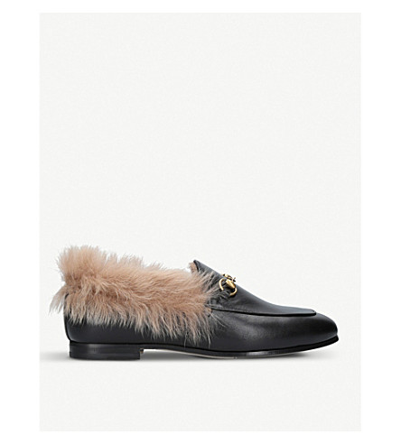 GUCCI Jordaan leather and shearling loafers (Black