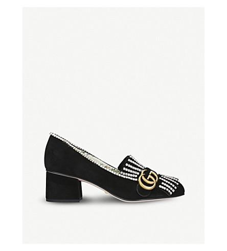 GUCCI Marmont 55 水晶点缀绒面革乐福鞋 (黑色