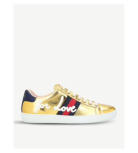 GUCCI New Ace metallic leather trainers (Gold