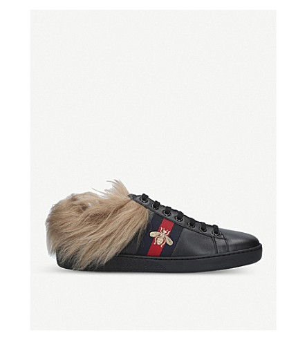 GUCCI New Ace shearling-lined leather trainers (Black
