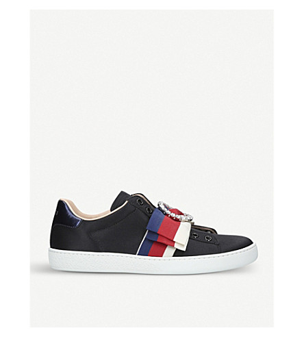 GUCCI New Ace bow-detail satin trainers (Black