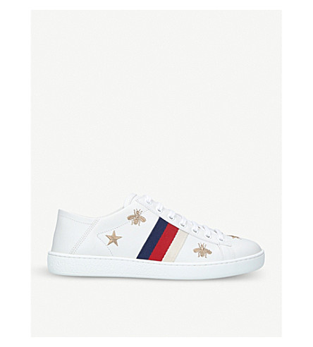 GUCCI New Ace bee-embroidered leather trainers (White/oth