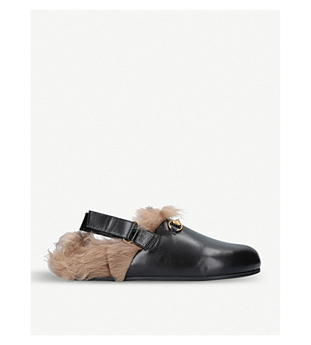 GUCCI New River leather and shearling clogs (Black