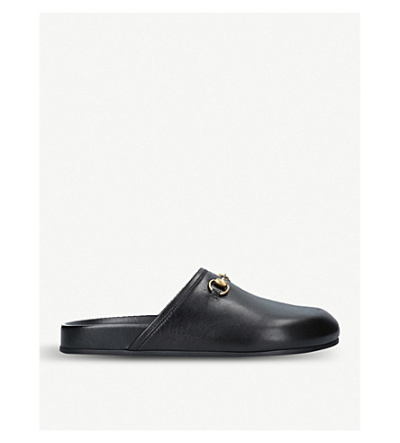 GUCCI New River leather mules (Black