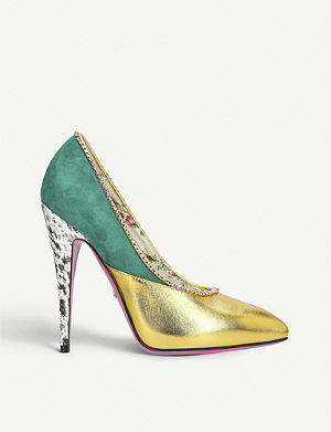 GUCCI Peachy Crystal 110 leather courts