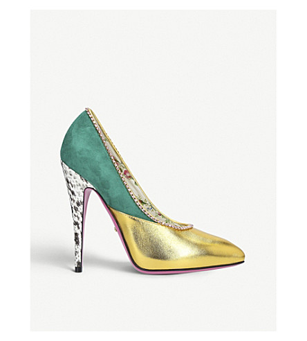 GUCCI Peachy Crystal 110 leather courts (Gold+comb