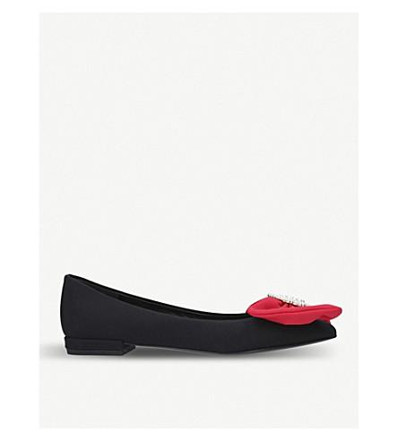 STELLA LUNA Bow embellished satin ballet flats (Blk/red