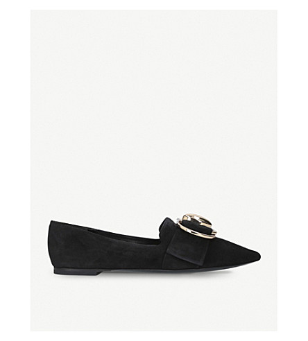 STELLA LUNA Double-ring suede loafers (Black