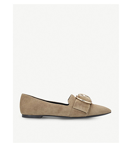 STELLA LUNA Double-ring suede loafers (Camel