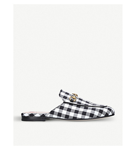 GUCCI Princetown gingham slippers (White/blk