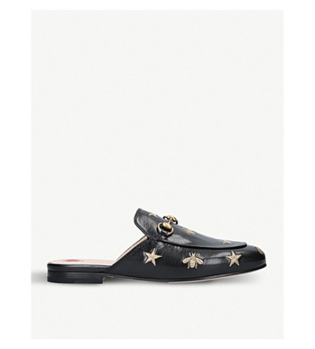 GUCCI Princetown embroidered leather slippers (Blk/other
