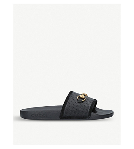 db927461777 GUCCI Pursuit leather and rubber sliders (Black