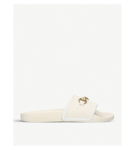 GUCCI Pursuit leather and rubber sliders (Winter+wht