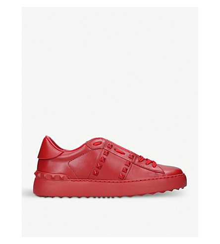 OPEN STUDDED LEATHER SNEAKERS