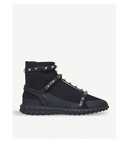 VALENTINO Rockstud stretch-knit sock trainers (Black