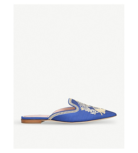 ALBERTA FERRETTI Mia embroidered-elephant mules (Blue