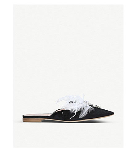 ALBERTA FERRETTI Mia feather and crystal-embellished velvet mules (Black