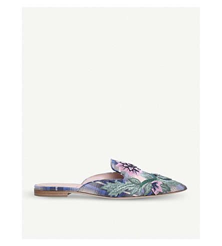 ALBERTA FERRETTI Mia tartan cotton mules (Blue+other