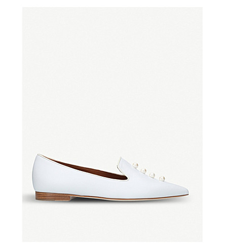 MALONE SOULIERS Lubov embellished leather flats (Winter+wht