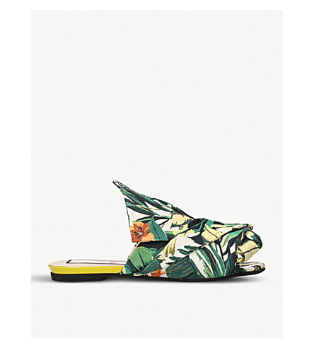NO 21 Palm-print bow jacquard slippers (Green+comb