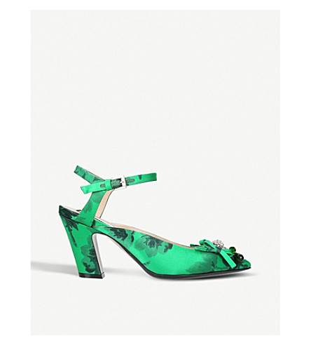 NO 21 Embellished satin pointed heels (Green+comb