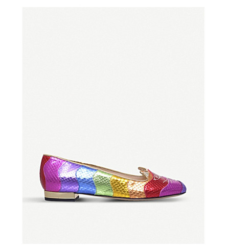 CHARLOTTE OLYMPIA Rainbow Kitty leather slippers (Mult/other