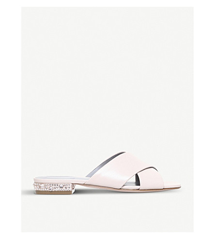 GINA Bourdin leather and Swarovski sandals (White/blk
