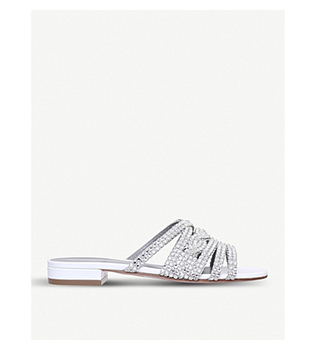 GINA 蒂娜皮革和 Swarovski 凉鞋 (白色