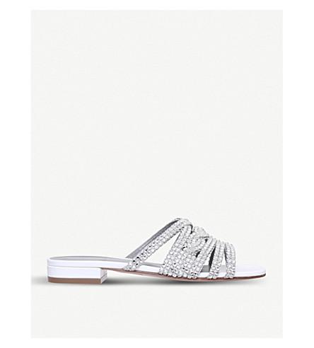 GINA Deena leather and Swarovski sandals (White