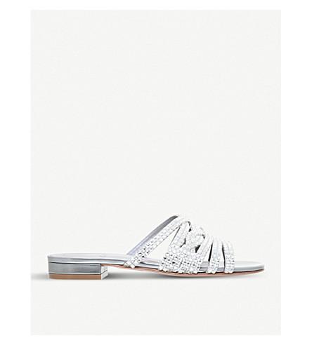 GINA 蒂娜皮革和 Swarovski 凉鞋 (银色 + com