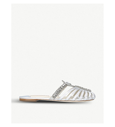 SOPHIA WEBSTER Iridessa embellished metallic leather sandals (Silver
