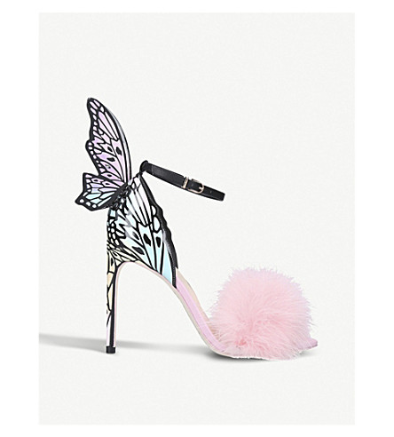 SOPHIA WEBSTER Talulah feather-trimmed patent-leather sandals (Pink
