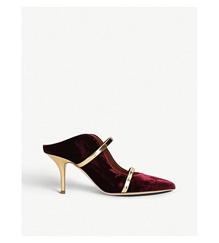 MALONE SOULIERS莫林 70 天鹅绒穆勒鞋 (红色/深色