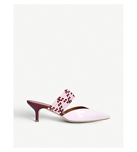 MALONE SOULIERS Maisie 6 raffia and leather mules (Pink