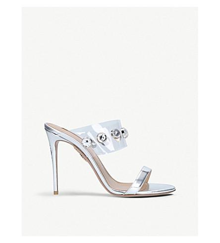 AQUAZZURA Galaxy 105 leather heeled sandals (Silver