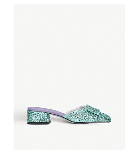 VICTORIA BECKHAM Harper glitter heeled mules Blue other Sale Best Wholesale uulpOkl