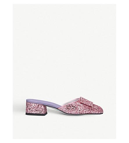 VICTORIA BECKHAM Harper glitter heeled mules (Pink