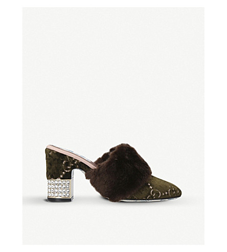 GUCCI Candy Mule 75 velvet and faux-fur heeled mules (Brown