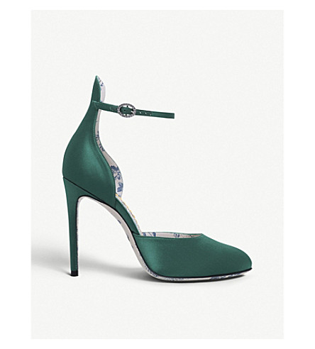 GUCCI Daisy d'Orsay 105 satin pumps (Green