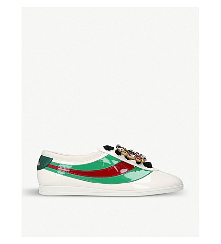 GUCCI Falacer embellished patent-leather trainers (Bone