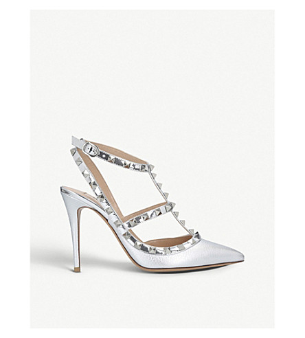 VALENTINO Rockstud 100 metallic-leather courts (Silver