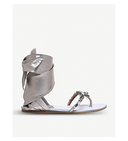 ETRO Ribbon ankle-tie metallic leather sandals (Silver