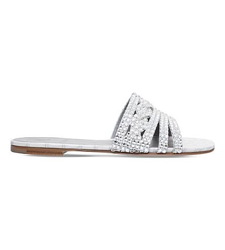 GINA sandals Winter GINA Loren wht flat Loren Swarovski crystal xqC6YHqr
