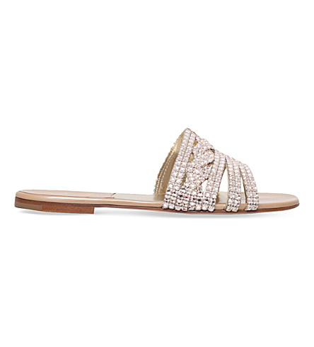 GINA Loren embellished leather sandals (Cream
